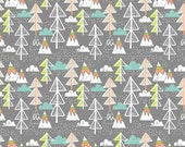 Snowday Arctic Tree Gray, by Maude Asbury from blend fabrics, 1 yard