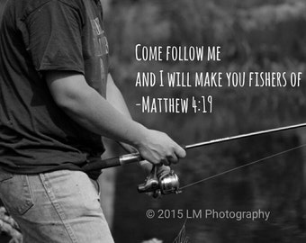 Fishing Bible Quote Canvas Print 8x11