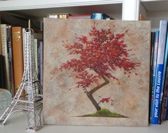 "Japanese Maple Bonsi, Oil Painting on Gallery Wrapped Canvas, 12"" x 12"""