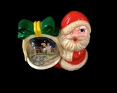 Vintage Plastic Santa, Holding Gift Snow Globe ,with Angel and Fawn In the Globe, Brite Star Mfg, Circa 1970s