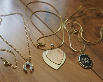 Estate Vintage Jewelry Necklace Set  of 3 Chain Pendent /Gold/ Heart/ Oval/ Horseshoe / CZ / Letter K //Y-076