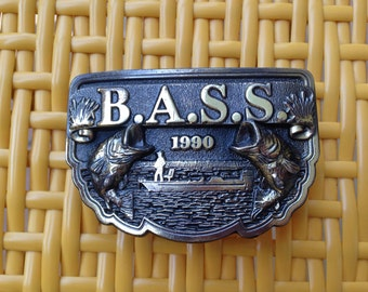 Vintage  Jewelry  Belt Buckle Bronze Signed Made Exclusively For Bass Anglers Sportsman Society 1990/ Made in USA   Z-022