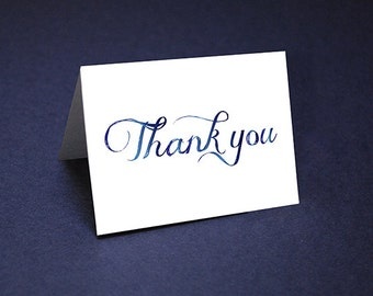 Thank You Cards • Navy Tone Watercolor Thank Yous • Unique Thank You Card • Script Watercolor Thank You • Shower Thanks • Wedding Thank yous