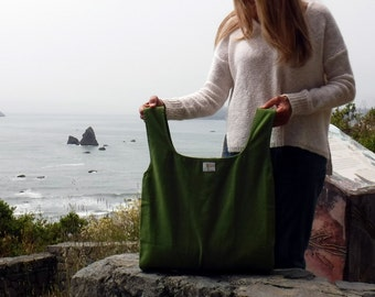 Grocery Shopping Bag of Reusable, Eco Friendly, Organic Cotton, Canvas Hand dyed in Avocado