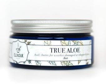 TRUE ALOE Organic Body Butter for Weather Damaged or Chapped Skin - 8 oz