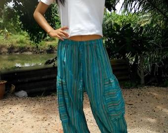 Ladies Baggy Pants Trousers Balloon Pants Beach Pants Yoga Gym Striped Blue
