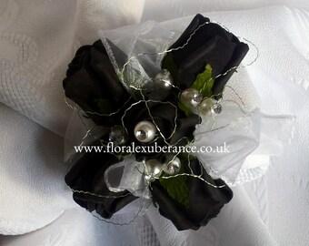 Artificial Black Rose Wrist Corsage, foam roses,flowers prom/wedding flowers