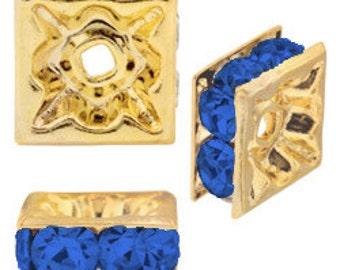 4mm Beadelle Gold/Sapphire Squardelles (72 pcs)