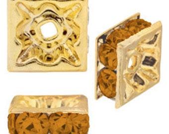 4mm Beadelle Gold/Topaz Squardelles (72 pcs)