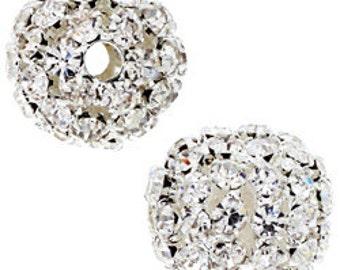 19mm Beadelle Silver Crystal Rhinestone Balls (1 piece)