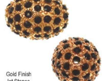11x15mm Beadelle Gold / Jet Pave Bead (6 pcs)