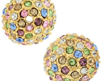 12mm Beadelle Gold/Light Multi-Colored Pave Bead (6 pcs)