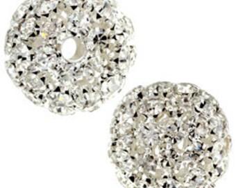 21mm Beadelle Silver Crystal Rhinestone Balls (2 pcs)