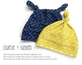 Knot Hat Set Charlie and Hayden PDF Sewing Pattern Baby or Kid Preemie to 6T Easy to Sew Two in One Sadi & Sam