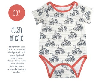 007 Dylan Onesie PDF Sewing Pattern Kids Baby Boy Girl Kid Knit Bodysuit Short Long Sleeves Preemie- 6T Sadi & Sam (Spit Up and Stilettos)