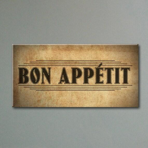 Rustic Bon Appétit Canvas Kitchen Decor 12x24 By SmokieValley