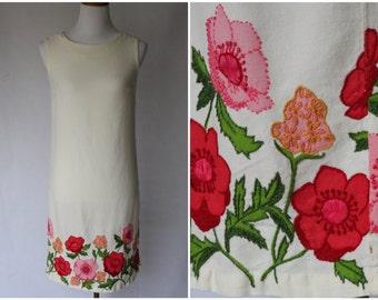 1960s Dress | 1960s Floral Dress | 1960s Ivory Dress | 1960s Shift Dress | Hand embroidered dress | Spring Dress