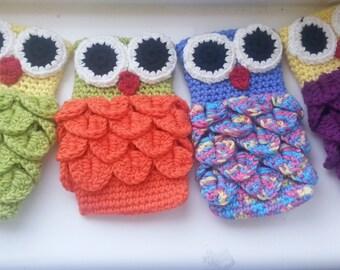 """Handmade iPhone 5 crochet case crochet cover,socks, 2,5"""" x 5"""", mobile phone case owl"""