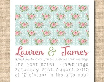 Shabby Chic Floral Wedding Invitation