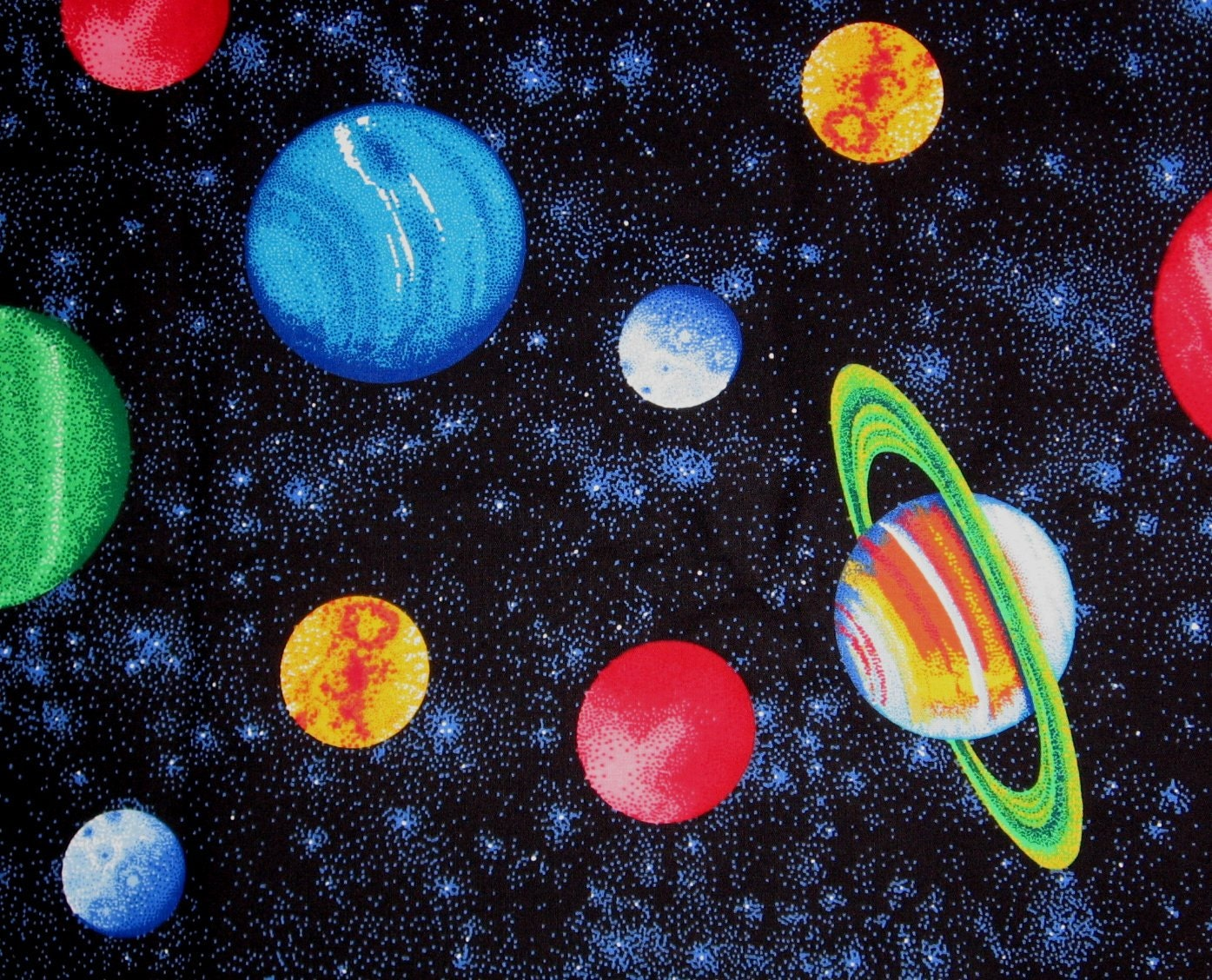 2 yds planets fabric cranston collections outer by for Space themed fleece fabric