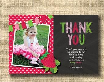 Strawberry Thank You Cards, Strawberry Birthday Thanks, StrawberryCard, StrawberryPhoto Thank You