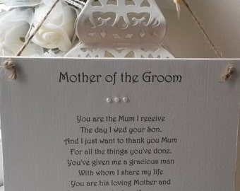 Wedding Gift For Mother Of The Bride And Groom : Mother of the Bride Personalised Wedding Thank You by AandFCrafts