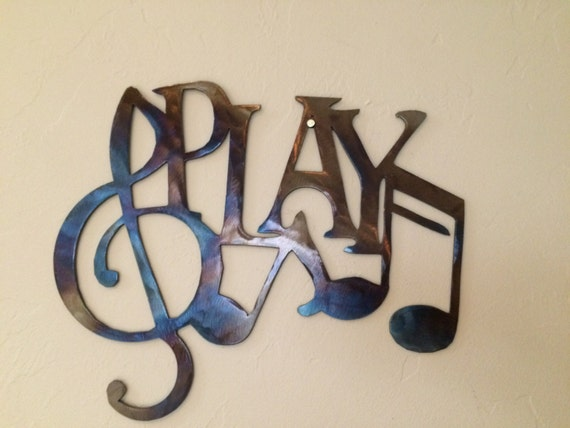 Metal Wall Decor With Musical Notes : Play w music notes metal wall art decor by cre ivemetaldesigns