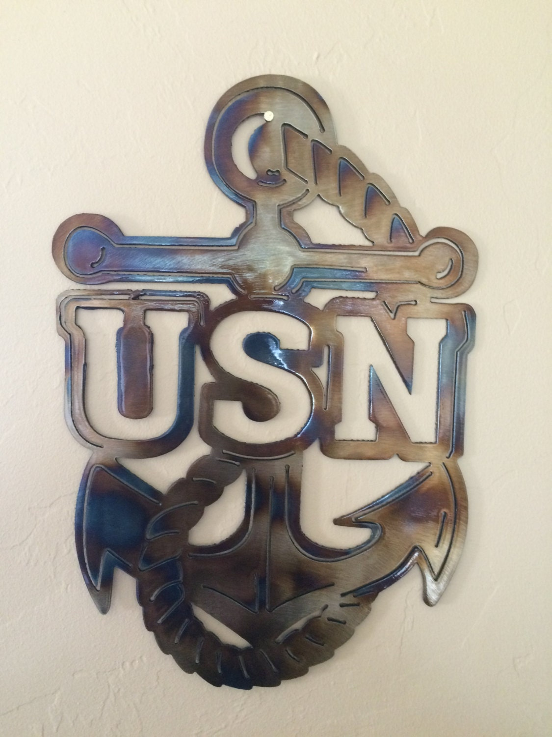 Us Navy Usn Anchor Metal Wall Art Decor