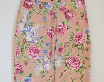 Vintage Floral High-Waisted Skirt (Size 6/8)
