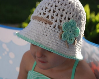 baby summer hat, white baby girl hat, mint flower, girl hat with brim, girl cotton hat, beach hat for girls, hat with flower, made to order