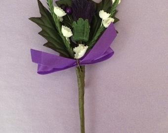Scottish Thistle Buttonhole Purple Wedding Artificial Flower Pin & Clasp