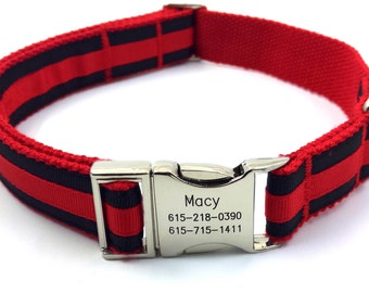 Personalized Dog Collar Layered Stripe Customized Engraved Name Buckle Red/ Black