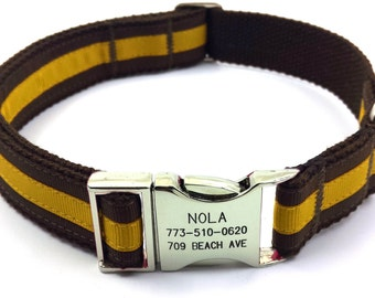 Layered Stripe Dog Collar Personalized Engraved Name Phone Buckle Brow / Golden