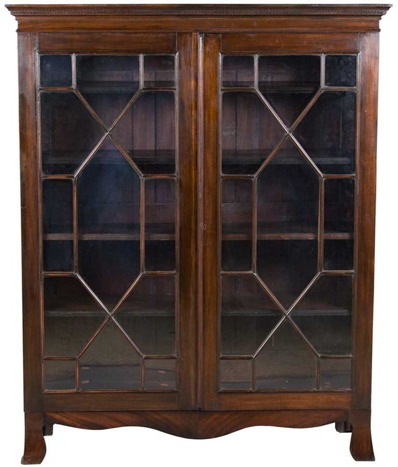Antique Mahogany Bookcase With Glass Doors Late By
