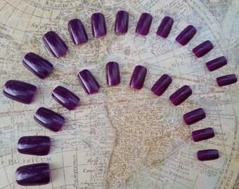 24 Dark Purple Press on Nails - Glue on Nails - Short Artificial Nails, Short Nails, Glue on Nails, Fake Purple Nails