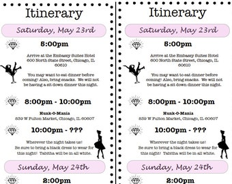 Bridal shower weekend invitations bachelorette itinerary for Bridal shower itinerary template