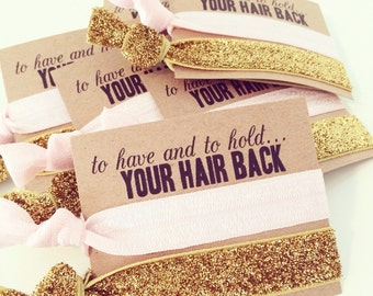 Hair Tie Bachelorette Favor | Light Pink + Gold Glitter Hair Tie Favors, Hair Tie Bridesmaid Gifts, Wedding Shower Bachelorette Party Favor