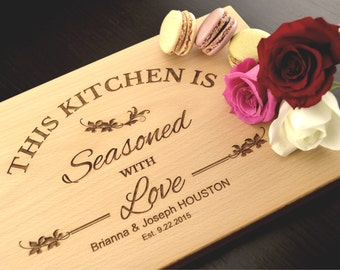Personalized Chopping Block, Custom Wedding Gift, Hostess Gift, Mothers Day Gift, Carved Wood Cutting Board, Kitchen is Seasoned with Love
