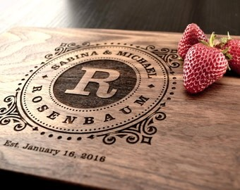 Engraved Cutting Board, Personalized Wedding Gift, Custom Anniversary Gift, Engagement Gift, Bridal Shower Gift, Decor, Wood Chopping Block