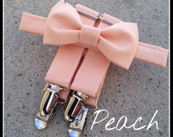 Peach Bow Tie and Suspender Set for babies, toddlers, boys, and men. Sent 3-5 business days after you order.