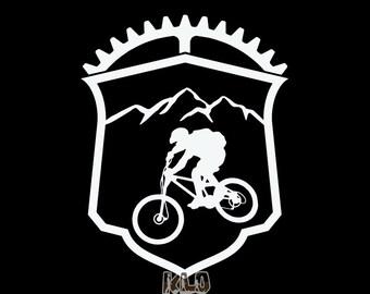 MOUNTAIN BIKE EMBLEM vinyl sticker decal Trail Free Ride Downhill xc Cross Country