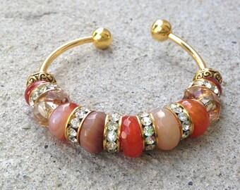 Agate Cuff Bracelet, OOAK, Beaded Bracelet, Gold plated, Gemstone, Gemstone Jewelry, Earth Tones, Bracelet