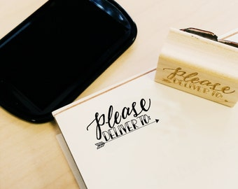Please Deliver To Rubber Stamp | Hand Lettered | FREE Ground Shipping!