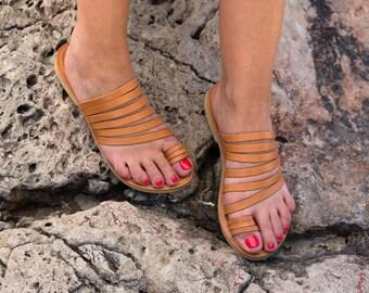 FREE SHIPPING - Genuine Greek Leather Sandal : Calliope
