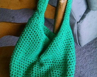 Green market tote crochet bag