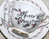 Royal Chelsea England Merry Christmas Tea Cup and Saucer Red Moriage Enamel 4926