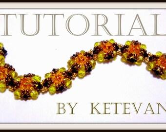 "BEADING TUTORIAL - PATTERN of bracelet  ""spring"", with swarovski  crystals,  pdf download file."