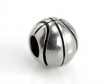 Basketball Bead For European Charm Bracelets - Sports Pigskin Spacer Beads #T-103