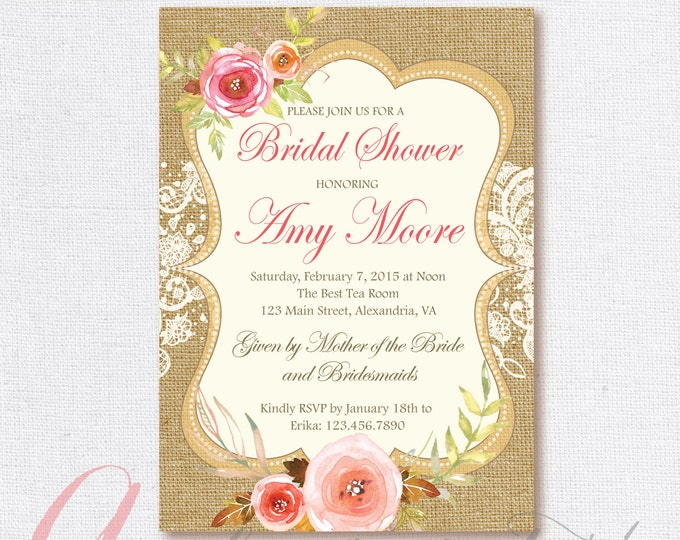 Bridal Shower Invitation. Burlap and lace bridal shower. Printable Bridal Shower invitation. Burlap bridal invite. Spring bridal shower