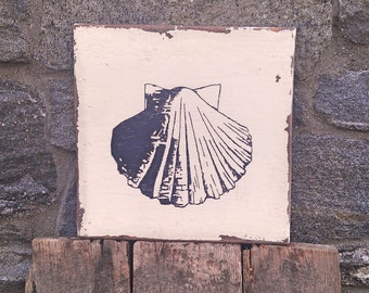 Vintage Scallop Shell sign on salvaged barn wood hand-painted rustic distressed